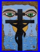 tableau personnages christ jesus croix : la tristesse de l'humanité.. Vendu