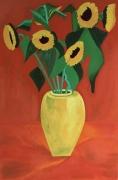 tableau nature morte tournesols nature morte fleurs impressionnisme : Tournesols dans un vase jaune