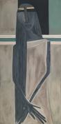 tableau personnages surrealisme portrait femme vert clair : Sans Titre