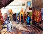 tableau autres aquarelle marchands tapis souk maroc : Marchands de tapis