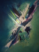 tableau abstrait bleu blanc vert : explosion