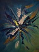 tableau abstrait bleu explosion montpellier sete : soleil bleu