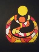 tableau personnages femme enfant cubisme fauvisme : le yin et le moi