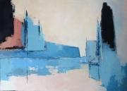 tableau marine horizon abstrait bleu mer : Le Port