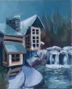 tableau architecture maison foret nord froid : Maison d'hiver