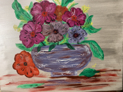 tableau fleurs vase fleurs craquele : bouquet de fleurs