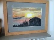 tableau paysages coucher soleil aquarelle : coucher de soleil