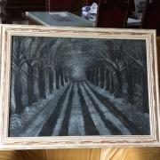 tableau paysages sous bois neige : route enneigée