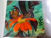 tableau fleurs fleurs papillons : fleur et papillons