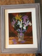 tableau fleurs fleurs craquele : les iris