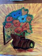 tableau fleurs fleurs godasse craquele : craquelé