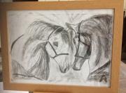 tableau animaux chevaux fusain : tête à tête