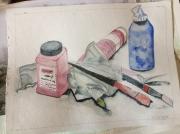 autres nature morte aquarelle pots pinceaux : pots de peinture