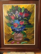 tableau fleurs fleurs craquele : roses et iris
