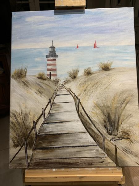 TABLEAU PEINTURE mer phare Paysages Acrylique  - vers la mer