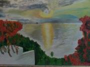 tableau paysages coucher soleil mer : coucher de soleil sur la mer