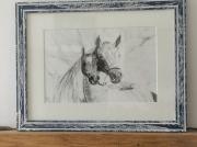 tableau animaux chevaux fusain : chevaux
