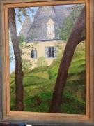 tableau paysages paysage nature maison : entre deux arbres