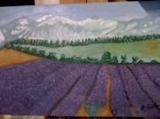 tableau paysages paysage lavande montagne : champ de lavande