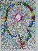 tableau personnages profil visage 3d : Profil multicolore