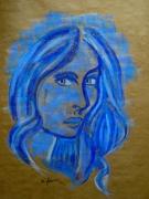 tableau personnages pastel femme bleu : Olga