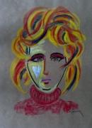 tableau personnages pastel femme portrait : Vera