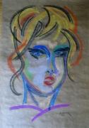 tableau personnages portrait femme pastel : Portrait Tania