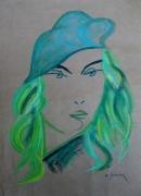 tableau personnages pastel femme vert : Sonia