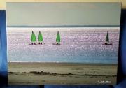 photo marine voiliers mer plage enfants : Voiles verte
