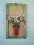 tableau fleurs edelweiss coeurs montagne soleil : les coeurs d'edelweiss