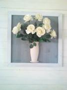 artisanat dart fleurs soleil bonheur montagne neige : bouquet de roses blanche s
