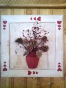 artisanat dart fleurs rouge blanc coeur montagne : les trois coeurs