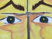 tableau scene de genre execution soleil derriere paupieres : le regarde du Christ