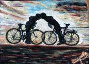 tableau scene de genre : à bicyclette