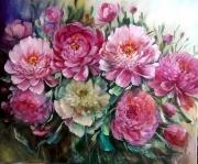 tableau pivoines peinture ar galerie decoration comtemporain figurat huile tableaux : Pivoines 2018