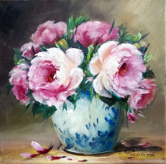 TABLEAU PEINTURE Flowers galerie crea vase gelerie créatio comtemporain art tableaux Fleurs Peinture a l'huile  - Roses