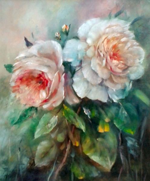 TABLEAU PEINTURE decoration roses comtemporain Fleurs Peinture a l'huile  - Roses