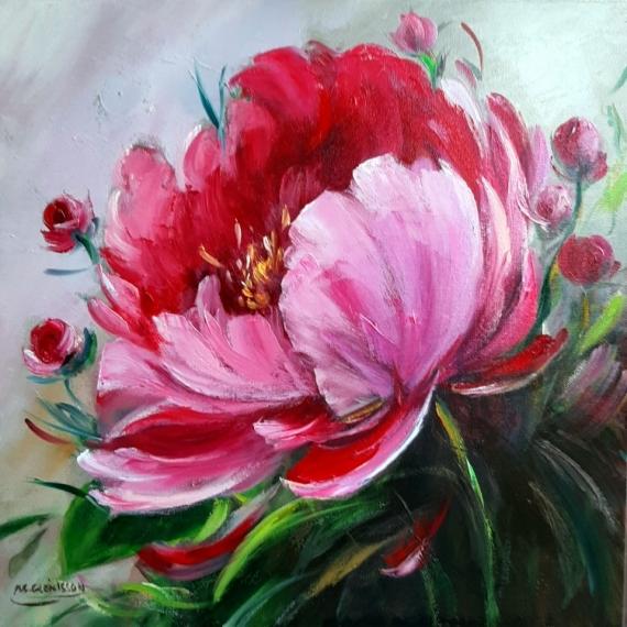 TABLEAU PEINTURE Flowers galerie crea painting artiste fig comtemporain art pivoines Fleurs Peinture a l'huile  - Pivoines 2020
