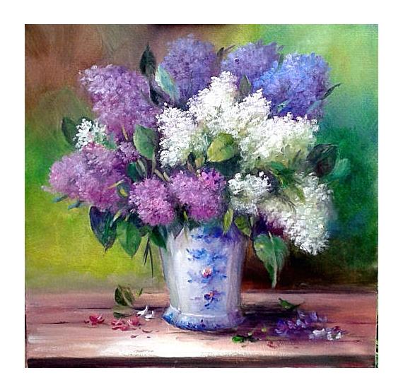 TABLEAU PEINTURE figuratif tableaux fleurs art Fleurs Peinture a l'huile  - Bouquet de lilas