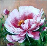 tableau fleurs pivoines art figurat painting artiste fig comtemporain art : Une pivoine