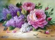 tableau fleurs flowers galerie crea painting artiste fig comtemporain art tableaux : Roses et lilas