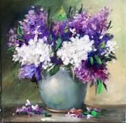 tableau fleurs lilas peinture contemporain toile oeuvre : Bouquet de lilas aux couteaux