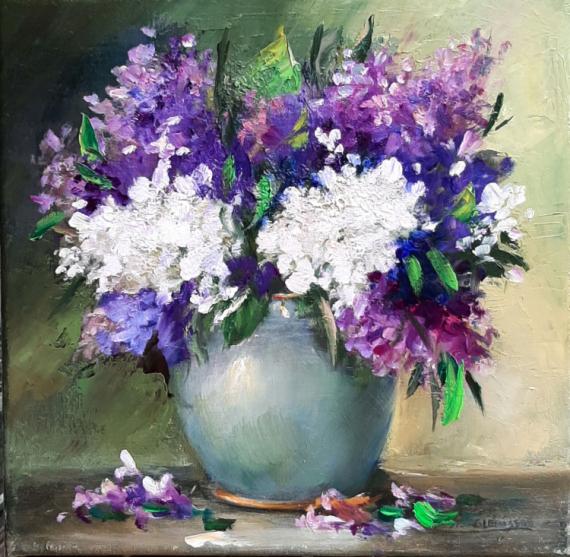 TABLEAU PEINTURE lilas peinture contemporain toile oeuvre Fleurs Peinture a l'huile  - Bouquet de lilas aux couteaux