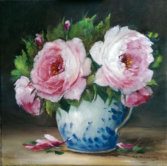 TABLEAU PEINTURE art peinture contemporain roses tableaux décoratio Fleurs Peinture a l'huile  - Les roses de l artiste