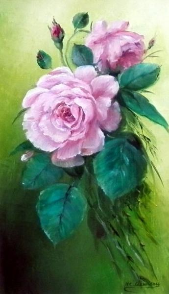 TABLEAU PEINTURE pivoines porcelaine peinture decoration Fleurs Peinture a l'huile  - Bouquet de roses