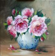 tableau fleurs art tableau roses contemporain œuvre galerie peint : Les roses du peintre