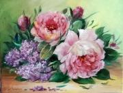 tableau fleurs galerie art comtemporain tableau roses lilas decorati creation peinture : LILAS ET ROSES