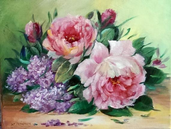 TABLEAU PEINTURE Galerie art comtemporain tableau roses lilas decorati creation peinture Fleurs Peinture a l'huile  - LILAS ET ROSES