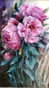painting fleurs decoration roses rosier peinture : Les pivoines roses