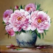 tableau fleurs flowers galerie crea painting artiste fig comtemporain art tableaux : Pivoines 2020